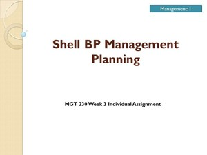MGT 230 Week 3 Individual Assignment – Shell BP Management Planning