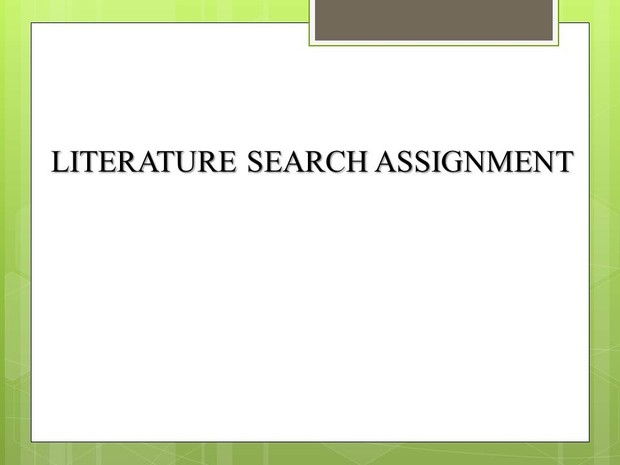 Literature Search Assignment