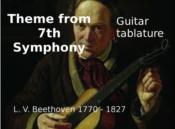 Theme from Allegretto - 7th Symphony - Beethoven - PDF guitar tab