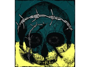 T-shirt Design Image - Skull In Blue-Yellow Color