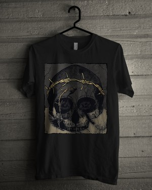T-shirt Design Image - Skull In Dark Grey - Grey Color
