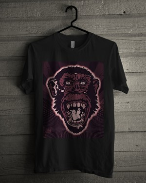 T-shirt Design Image - Monkey Face In Purple