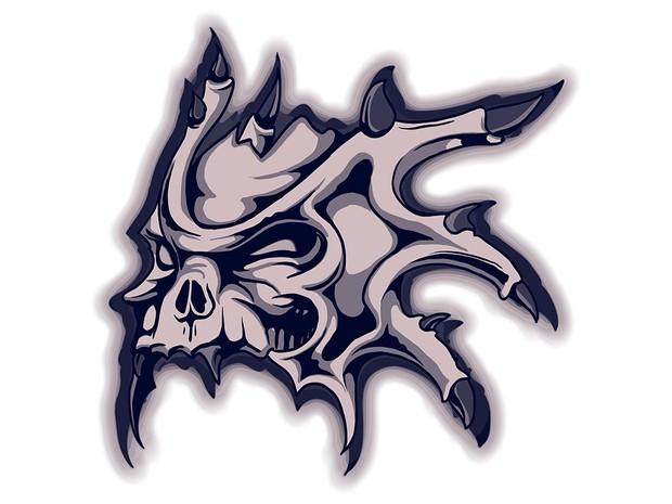 Tshirt Design - Horned Skull In Blue
