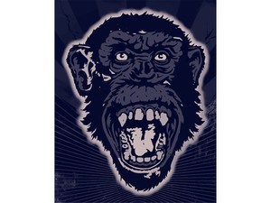 T-shirt Design Image - Monkey Face In Blue