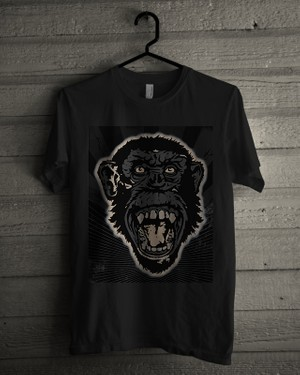 T-shirt Design Image - Monkey Face In Black