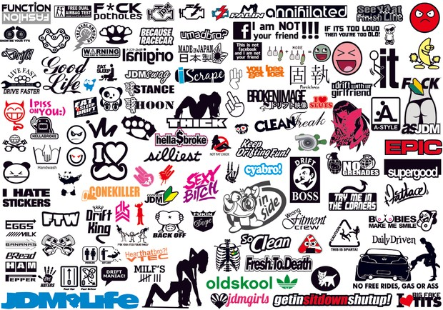 JDM Funny Car Decal Vector Collection 1 to 6 + Bonus Vdub VW Collection