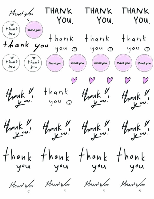 thank you stickers instant digital download png file printable stickers