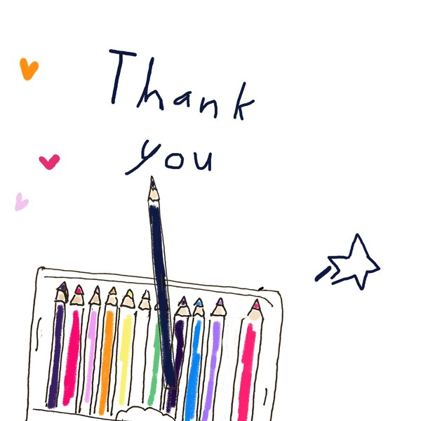 colored pencils gif to say thank you