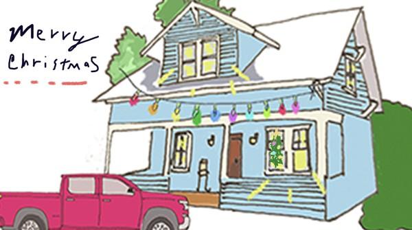 Christmas driveway ecard/animated drawing