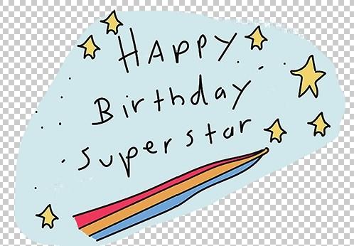 happy birthday superstar digital download printable sticker