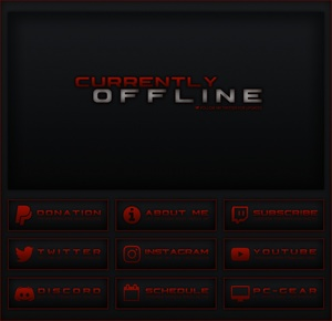 Twitch - Black / Red Theme Pack  | Panels, Offline Screen