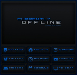 Twitch - Black / Blue Theme Pack  | Panels, Offline Screen
