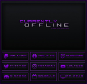 Twitch - Black / Purple Theme Pack    Panels, Offline Screen
