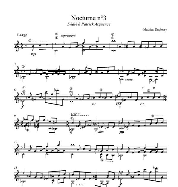 Mathias Duplessy - Nocturne n°3 - Score / Partition