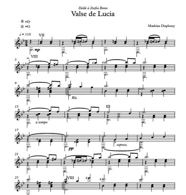Mathias Duplessy - Valse de Lucia - Score / Partition