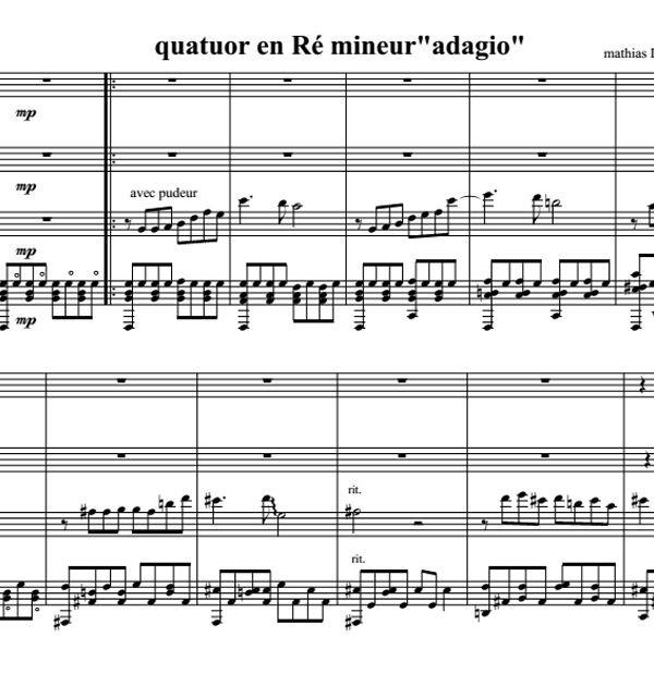 Mathias Duplessy - Quatuor pour Guitare en Ré Mineur - Score / Partition