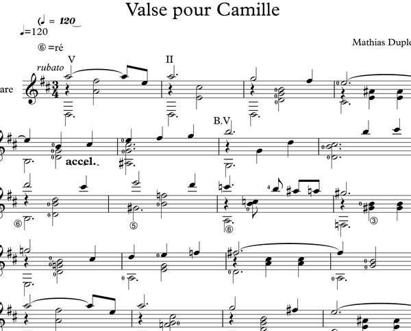 Mathias Duplessy - Valse pour Camille - Score / Partition