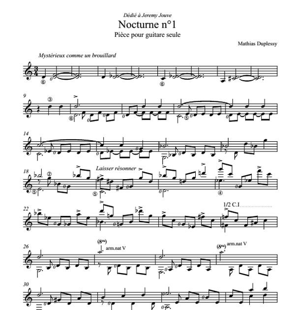 Nocturne n°1 - Score / Partition
