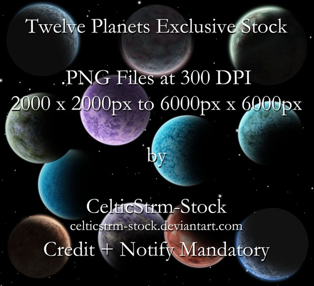 12 Sci-Fi Planet .PNG Stock Pack