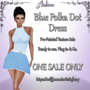 Blue Polka Dot Dress for IMVU