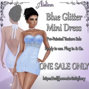 Blue Glitter Mini Dress for IMVU
