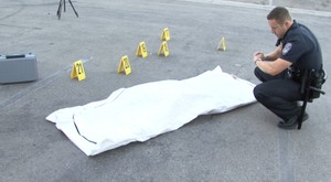 Police arrive at Crime Scene with Body Bag