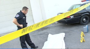 Cop Police evaluating Death - Crime Scene with Crime Tape