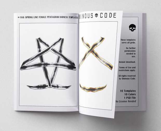 #166 Spring Line Female Pentagram Harness Clothing Templates For Second  Life & Other Virtual Grids