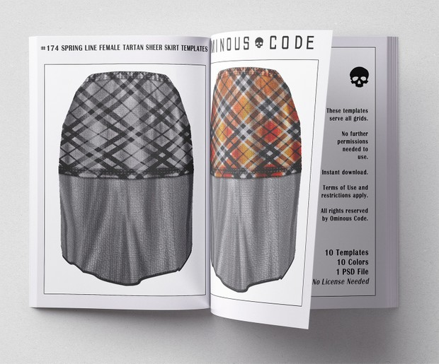 #174 Spring Line Female Tartan Sheer Skirt Clothing Templates For Second  Life & Other Virtual Grids