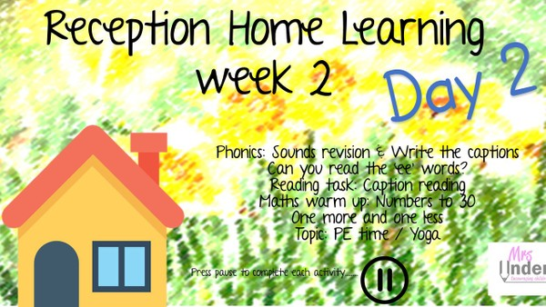 RECEPTION HOME LEARNING WEEK 2 DAY TWO