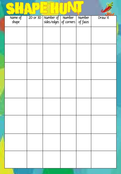 SHAPE HUNT RECORDING SHEET