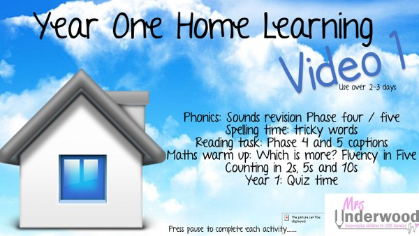 YEAR ONE HOME LEARNING VIDEO 1