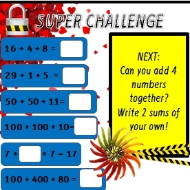 ADDING THREE NUMBERS PLUS SUPER CHALLENGE