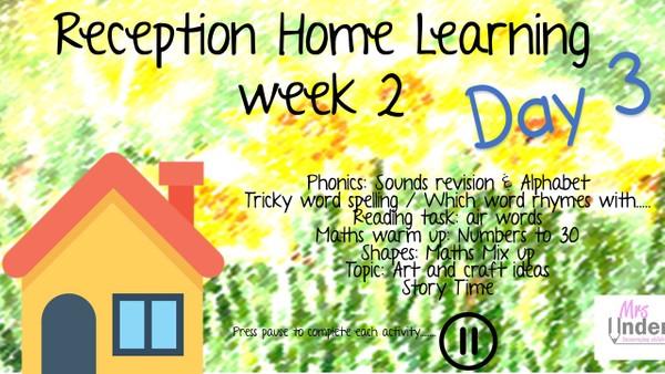 RECEPTION WEEK 2 DAY 3