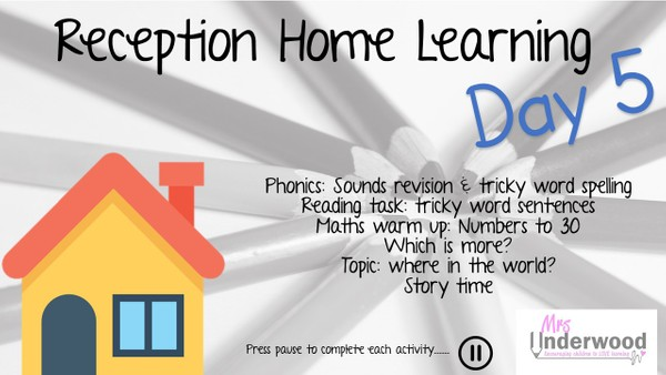 RECEPTION HOME LEARNING VIDEO DAY FIVE