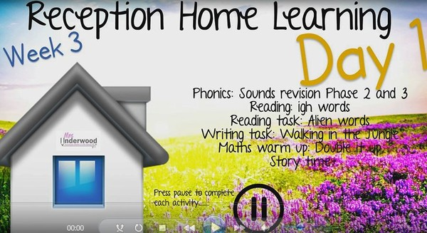 RECEPTION HOME LEARNING VIDEO WEEK 3 DAY 1