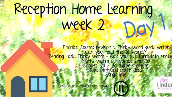 RECEPTION HOME LEARNING WEEK 2 DAY 1