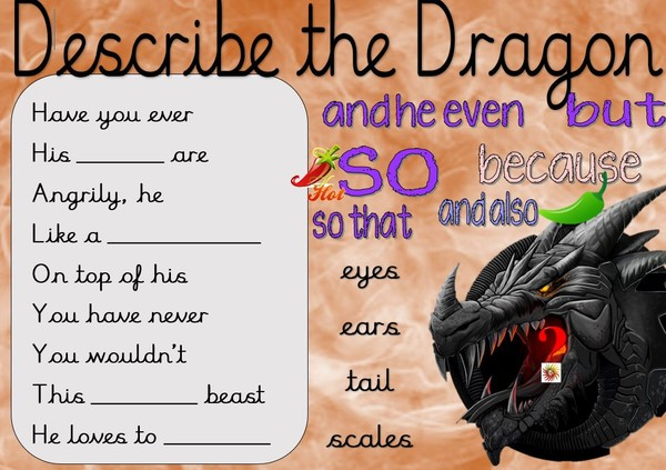 DRAGON FLIPCHART AND WRITING PROMPT
