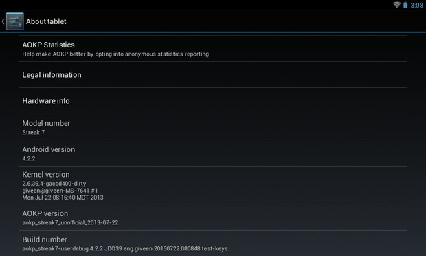Android 4.2.2 for Dell Streak 7