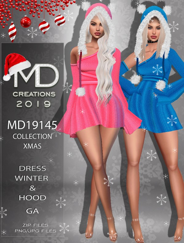 MD 19145 - Dress and Hood - Xmas/Winter Collection - IMVU - Textures
