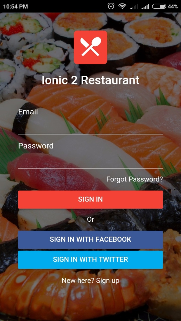 ionic 2 restaurant - flat ionic 2 template for restaurant