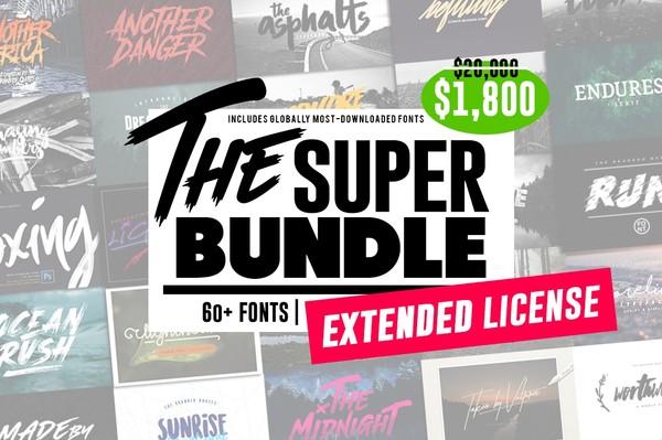 """The SUPER """"Extended License"""" BUNDLE 60+ FONTS"""