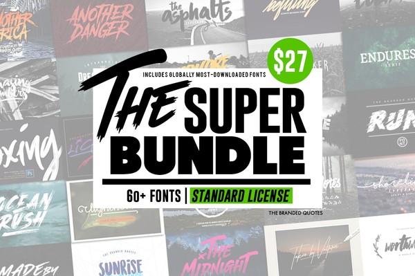 The SUPER BUNDLE 60+ FONTS (Standard License)