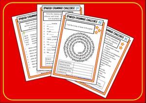 Spanish Grammar Challenge Cards