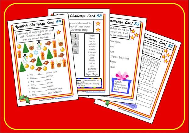 Spanish Challenge Cards - Christmas edition