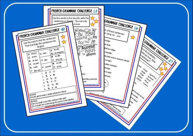 French Grammar Challenge Cards