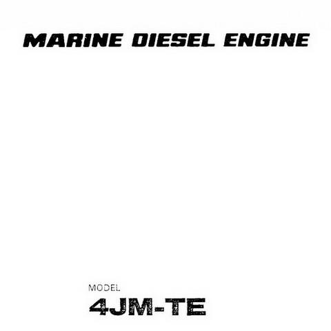 Yanmar 4JM-TE Marine Diesel Engine Repair Service Manual