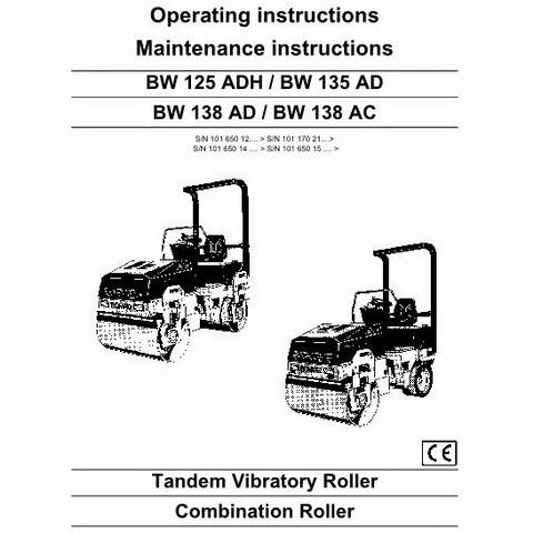 Bomag BW125ADH/BW135AD/BW138AD/BW138AC Operation & Maintenance Manual Instructions