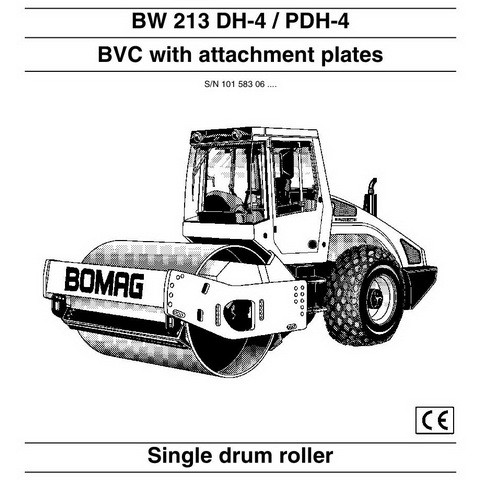 Bomag BW 213 DH-4 / BW 213 PDH-4 Single Drum Roller Operation & Maintenance Instructions
