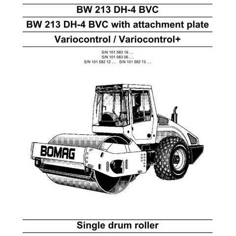 Bomag BW 213 DH-4 BVC Single Drum Roller Repair Service Manual